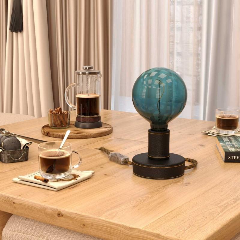 Posaluce Leather, Leder-Tischlampe komplett mit Textilkabel, Schalter und 2-poligem Stecker