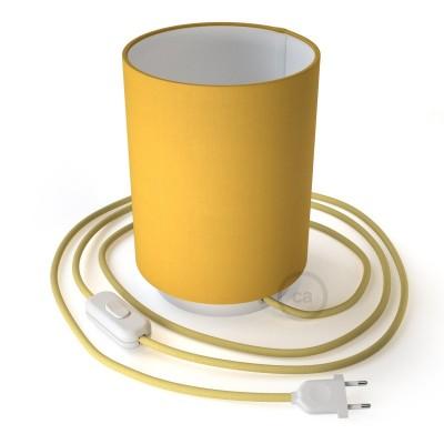 Metall Posaluce mit leuchtend gelbem Lampenschirm Cilindro, komplett mit Textilkabel, Schalter und 2-poligem Stecker