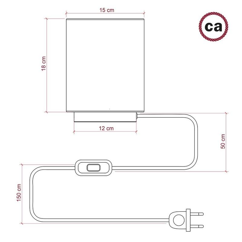 Posaluce aus Metall mit Lampenschirm Cilindro Linone Weiß, komplett mit Textilkabel, Schalter und 2-poligem Stecker