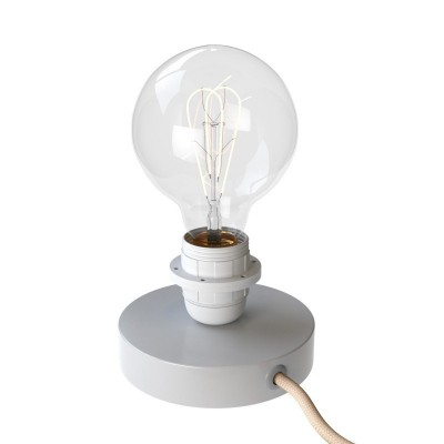 Posaluce Metal für Lampenschirm, Tischleuchte aus Metall komplett mit Textilkabel, Schalter und 2-poligem Stecker