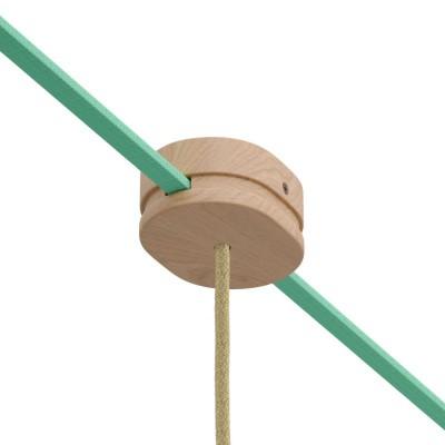 Ovales Lampenbaldachin aus Holz mit zentraler Bohrung und 2 Seitenlöchern für Lichterketten und Filé-System. Made in Italy