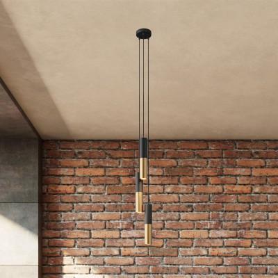 Pendelleuchte mit Mehrfachaufhängung mit 3 Ausgängen, komplett mit Textilkabel und Doppel Tub-E14 Lampenschirmen aus Metall
