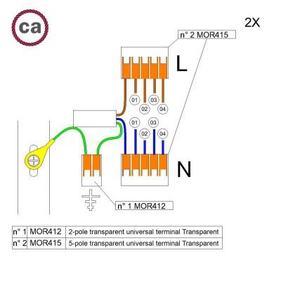 Kit Verbindungsklemme WAGO kompatibel mit Kabel 2x für Lampenbaldachin mit 4 Löchern