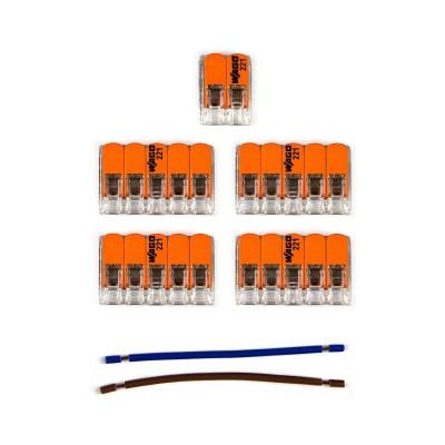 Kit Verbindungsklemme WAGO kompatibel mit Kabel 2x für Lampenbaldachin mit 6 Löchern
