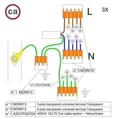 Kit Verbindungsklemme WAGO kompatibel mit Kabel 3x für Lampenbaldachin mit 4 Löchern