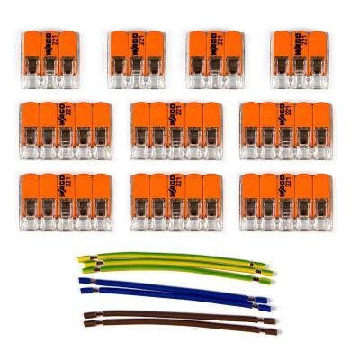 Kit Verbindungsklemme WAGO kompatibel mit Kabel 3x für Lampenbaldachin mit 8 Löchern