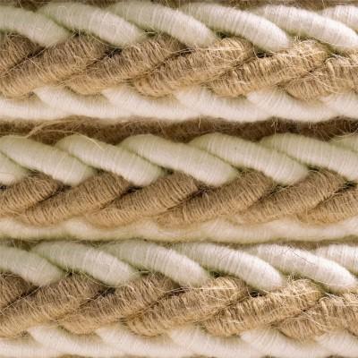 Geflochtenes Tauseil 2XL aus Jutefaser und weißer, grober Baumwolle. Elektrokabel 2x0,75. Durchmesser 24mm