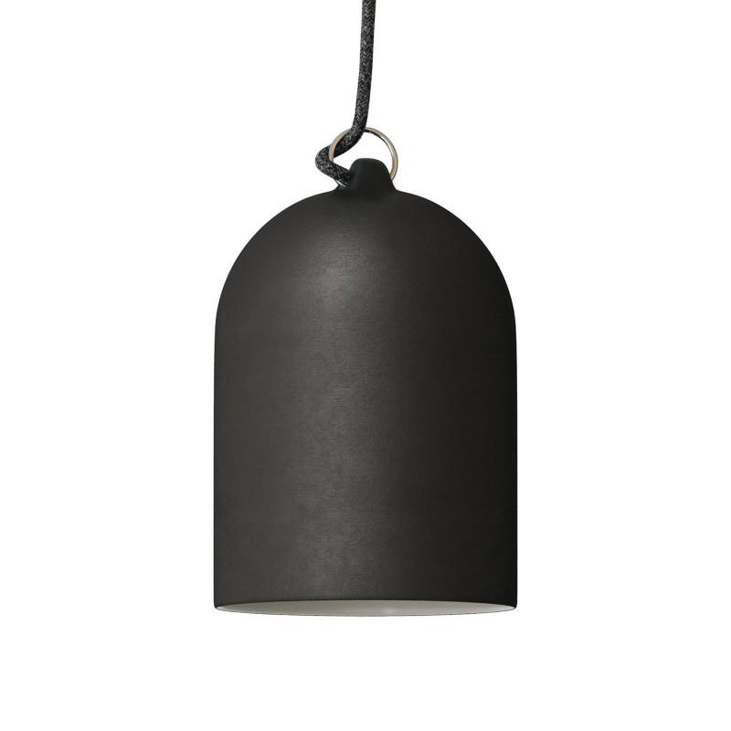 Pendelleuchte inklusive Textilkabel, glockenförmiger Lampenschirm XS und Metall-Zubehör - Made in Italy