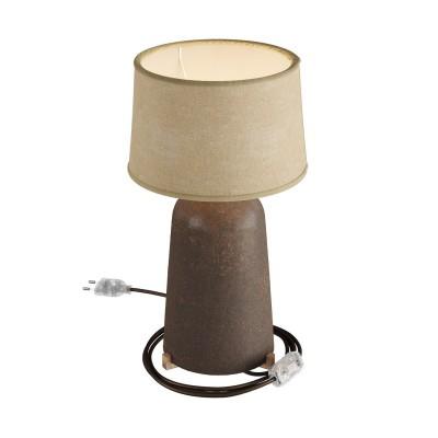 Flaschenförmige Tischleuchte aus Keramik mit Athena Lampenschirm, komplett mit Textilkabel, Schalter und 2-poligem Stecker