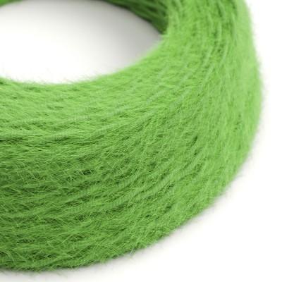 Geflochtenes Elektrokabel Marlene mit Stoffummantelung im Fransen-Look, einfarbig Grün TP06