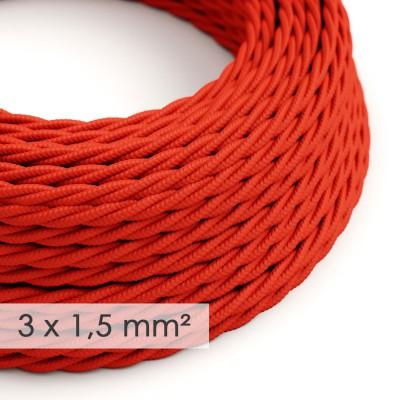Textilkabel geflochten mit breitem Querschnitt 3x1,50 - Seideneffekt Rot TM09