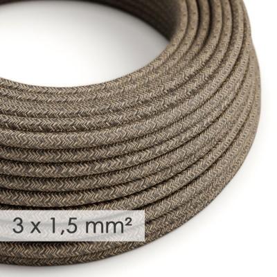 Textilkabel rund mit breitem Querschnitt 3x1,50 - Natürliches Leinen Braun RN04