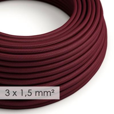 Textilkabel rund mit breitem Querschnitt 3x1,50 - Seideneffekt Bordeaux RM19