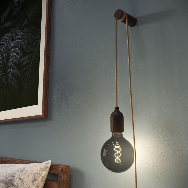 Snake, Zuleitung mit Lampenfassung aus Holz, Stecker und Schalter, komplett mit Rolé, unserem Wand- oder Deckenpin aus Holz