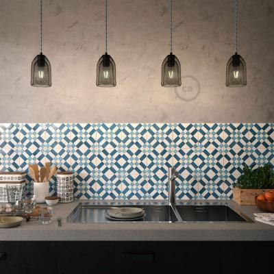 Pendelleuchte inklusive Textilkabel, Ghostbell Lampenschirmkäfig und Metall-Zubehör - Made in Italy