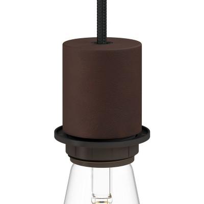 Kit E27 Lampenfassung aus Metall mit Halbgewinde und verdeckter Zugentlastung