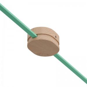 Ovales Lampenbaldachin aus Holz mit 2 Seitenlöchern für Lichterketten und Filé-System. Made in Italy