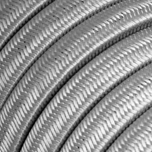 Elektrisches Kabel für Lichterketten, überzogen mit Silber Textilgewebe Seideneffekt CM02