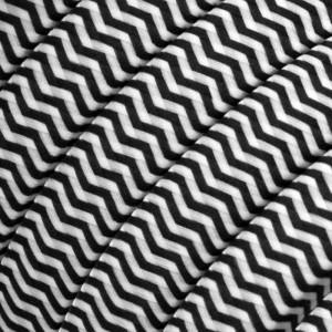 Elektrisches Kabel für Lichterketten, überzogen mit Weiß-Schwarz Textilgewebe Zick-Zack Seideneffekt CZ04