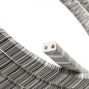 Elektrisches Kabel für Lichterketten, überzogen mit Vertigo Schwarz-Mélange Textilgewebe Baumwolle ECC37