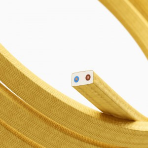 Elektrisches Kabel für Lichterketten, überzogen mit Gelb Textilgewebe Seideneffekt CM10
