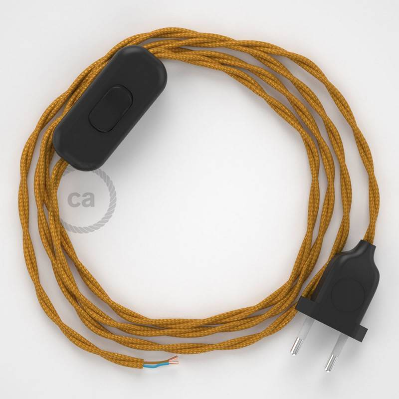 Zuleitung für Tischleuchten TM05 Gold Seideneffekt 1,80 m. Wählen Sie aus drei Farben bei Schalter und Stecke.