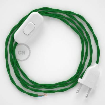 Zuleitung für Tischleuchten TM06 Grün Seideneffekt 1,80 m. Wählen Sie aus drei Farben bei Schalter und Stecke.