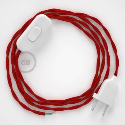 Zuleitung für Tischleuchten TM09 Rot Seideneffekt 1,80 m. Wählen Sie aus drei Farben bei Schalter und Stecke.
