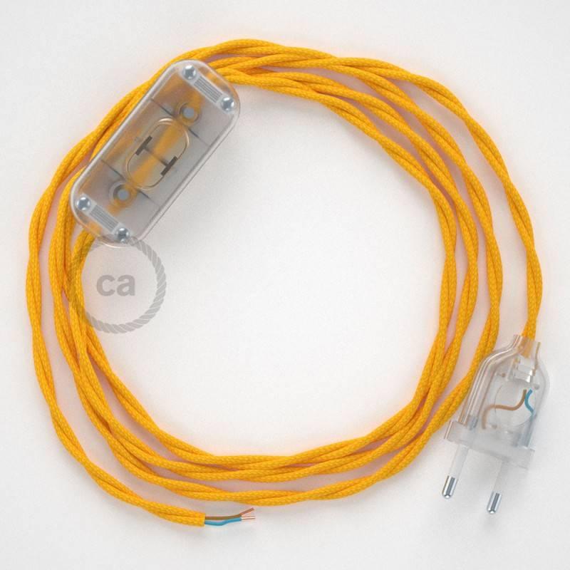 Zuleitung für Tischleuchten TM10 Gelb Seideneffekt 1,80 m. Wählen Sie aus drei Farben bei Schalter und Stecke.