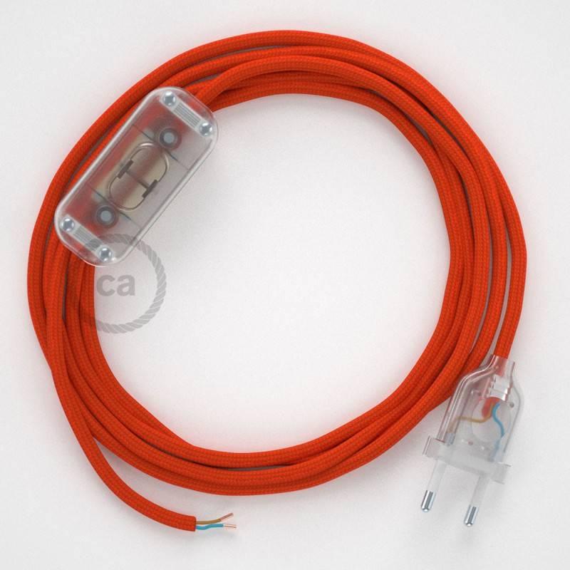 Zuleitung für Tischleuchten RM15 Orange Seideneffekt 1,80 m. Wählen Sie aus drei Farben bei Schalter und Stecke.