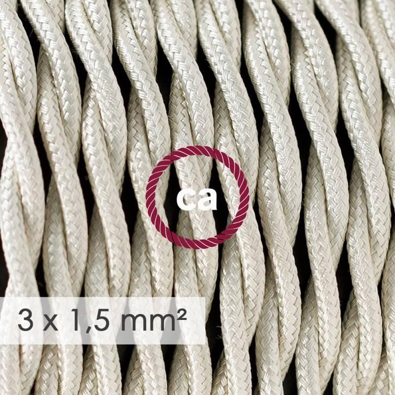 Textilkabel geflochten mit breitem Querschnitt 3x1,50 - Seideneffekt Elfenbein TM00