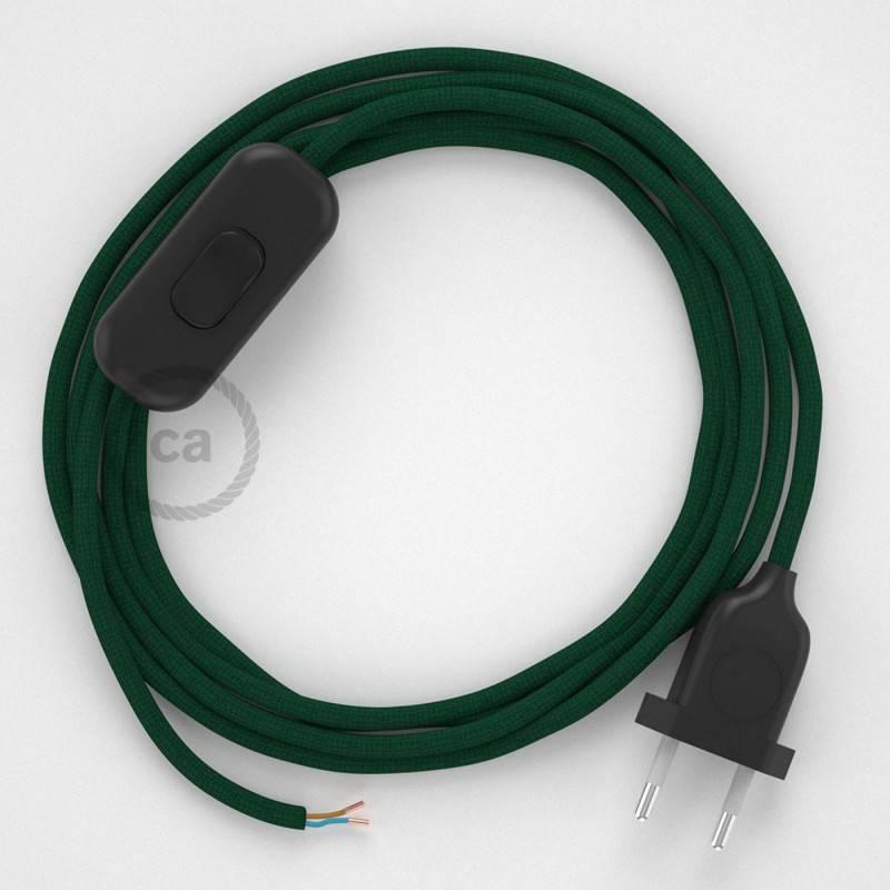 Zuleitung für Tischleuchten RM21 Dunkelgrün Seideneffekt 1,80 m. Wählen Sie aus drei Farben bei Schalter und Stecke.