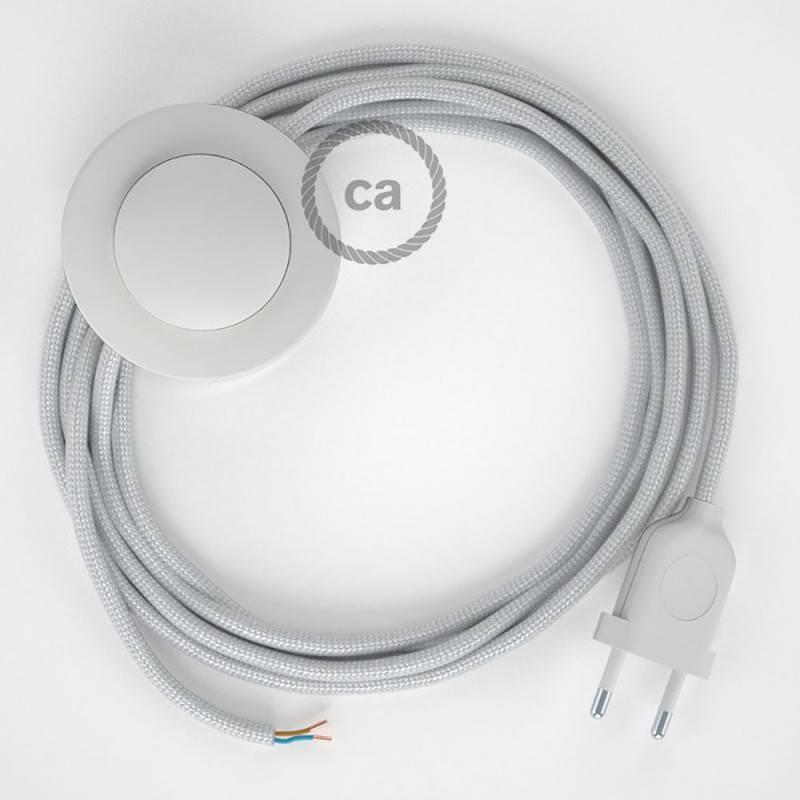 Stehleuchte Anschlussleitung RM02 Silber Seideneffekt 3 m. Wählen Sie aus drei Farben bei Schalter und Stecke.