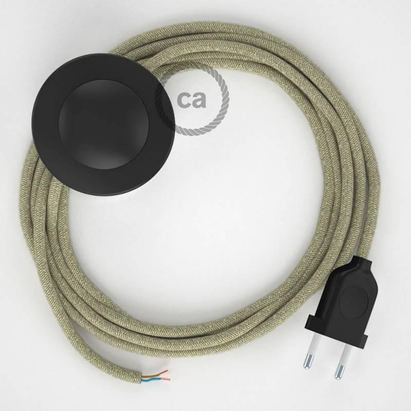 Stehleuchte Anschlussleitung RN01 Neutral Natürliches Leinen 3 m. Wählen Sie aus drei Farben bei Schalter und Stecke.