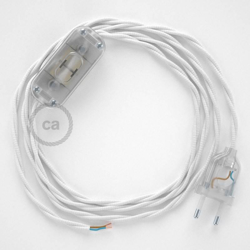 Zuleitung für Tischleuchten TM01 Weiß Seideneffekt 1,80 m. Wählen Sie aus drei Farben bei Schalter und Stecke.