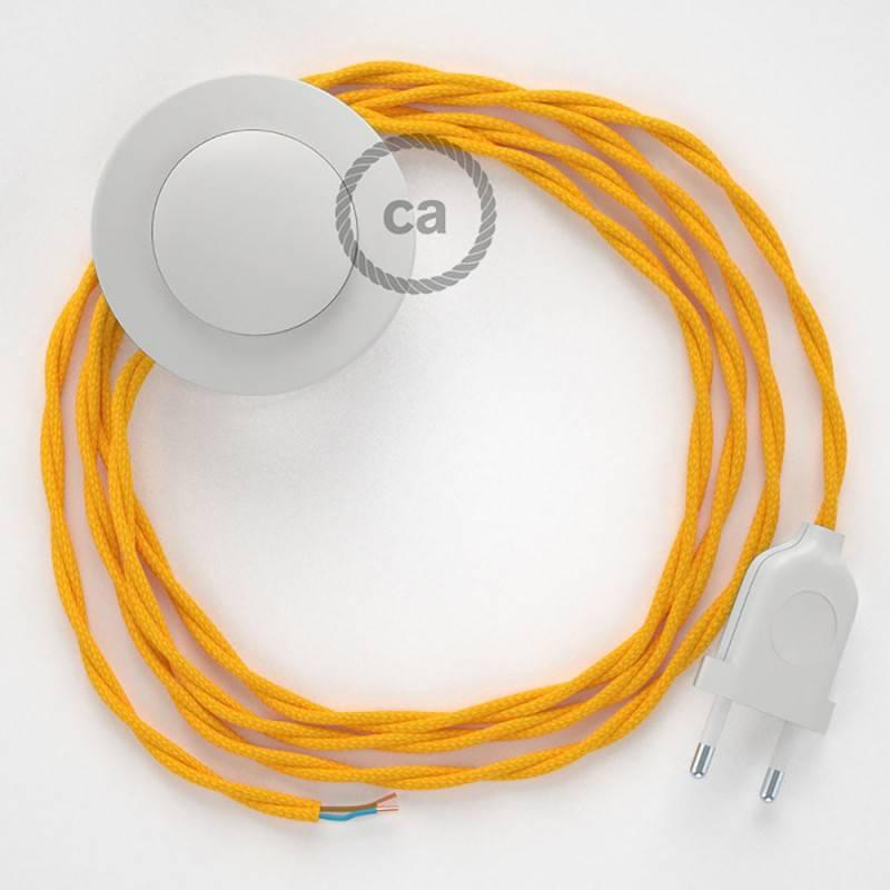 Stehleuchte Anschlussleitung TM10 Gelb Seideneffekt 3 m. Wählen Sie aus drei Farben bei Schalter und Stecke.