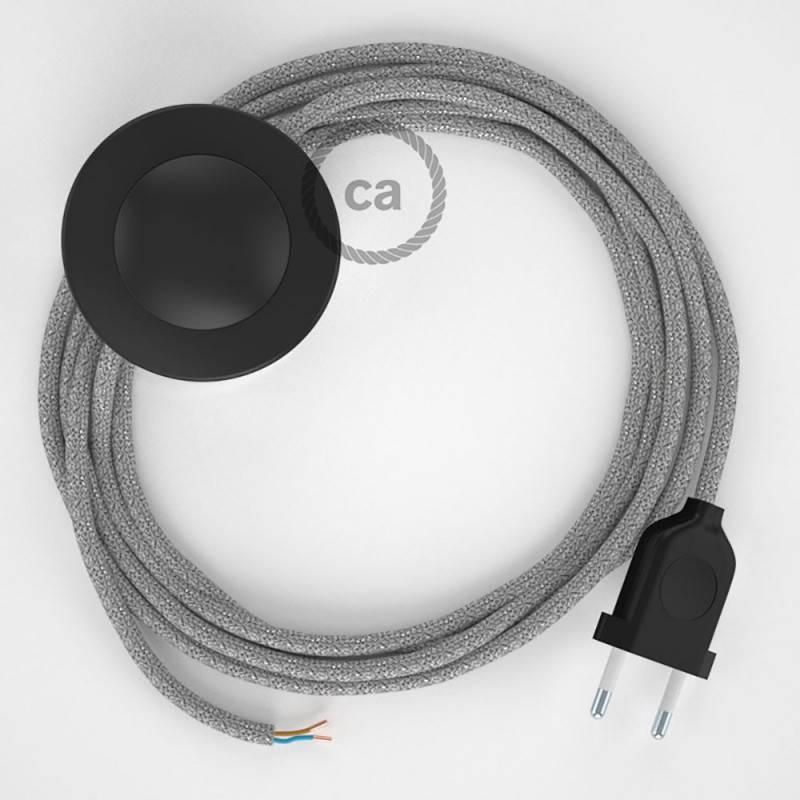 Stehleuchte Anschlussleitung RL02 Silber Geglittert Seideneffekt 3 m. Wählen Sie aus drei Farben bei Schalter und Stecke.