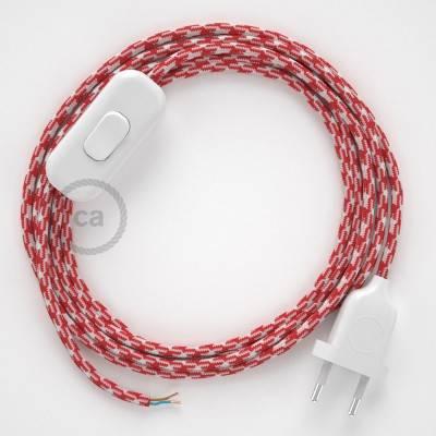 Zuleitung für Tischleuchten RP09 Bifarbig Weiß Rot Seideneffekt 1,80 m. Wählen Sie aus drei Farben bei Schalter und Stecke.