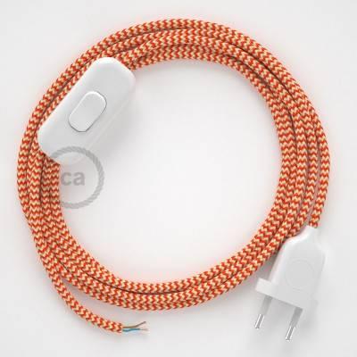 Zuleitung für Tischleuchten RZ15 Zick-Zack Weiß Orange Seideneffekt 1,80 m. Wählen Sie aus drei Farben bei Schalter und Stecke.