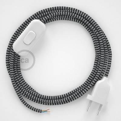 Zuleitung für Tischleuchten RZ04 Zick-Zack Weiß Schwarz Seideneffekt 1,80 m. Wählen Sie aus drei Farben bei Schalter und Stecke.