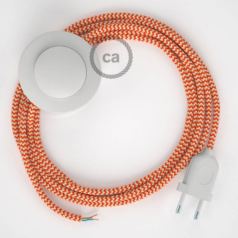 Stehleuchte Anschlussleitung RZ15 Zick-Zack Weiß Orange Seideneffekt 3 m. Wählen Sie aus drei Farben bei Schalter und Stecke.