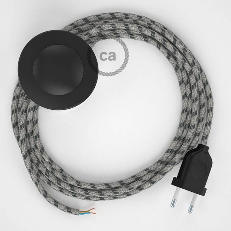 Stehleuchte Anschlussleitung RD54 Streifen Anthrazit 3 m. Wählen Sie aus drei Farben bei Schalter und Stecke.