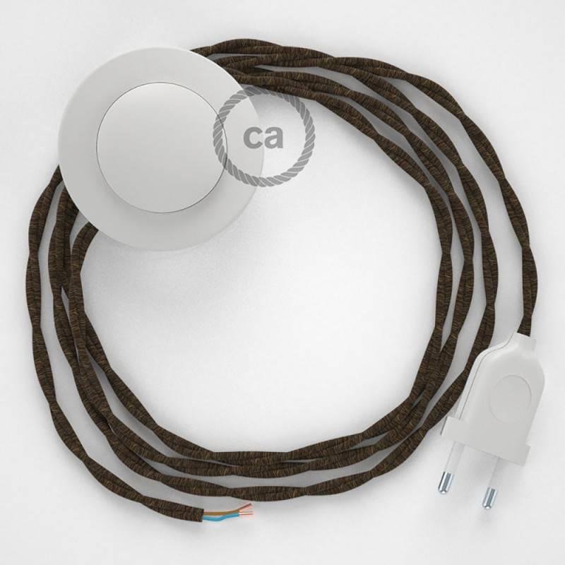Stehleuchte Anschlussleitung TN04 Braun Natürliches Leinen 3 m. Wählen Sie aus drei Farben bei Schalter und Stecke.