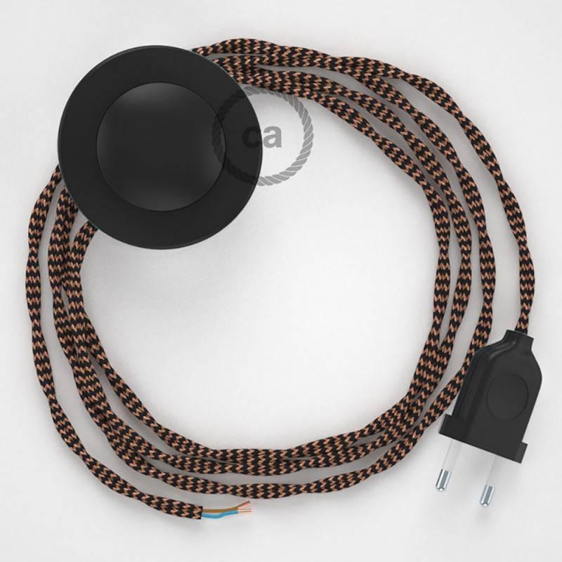 Stehleuchte Anschlussleitung TZ22 Schwarz und Whiskey Seideneffekt 3 m. Wählen Sie aus drei Farben bei Schalter und Stecke.