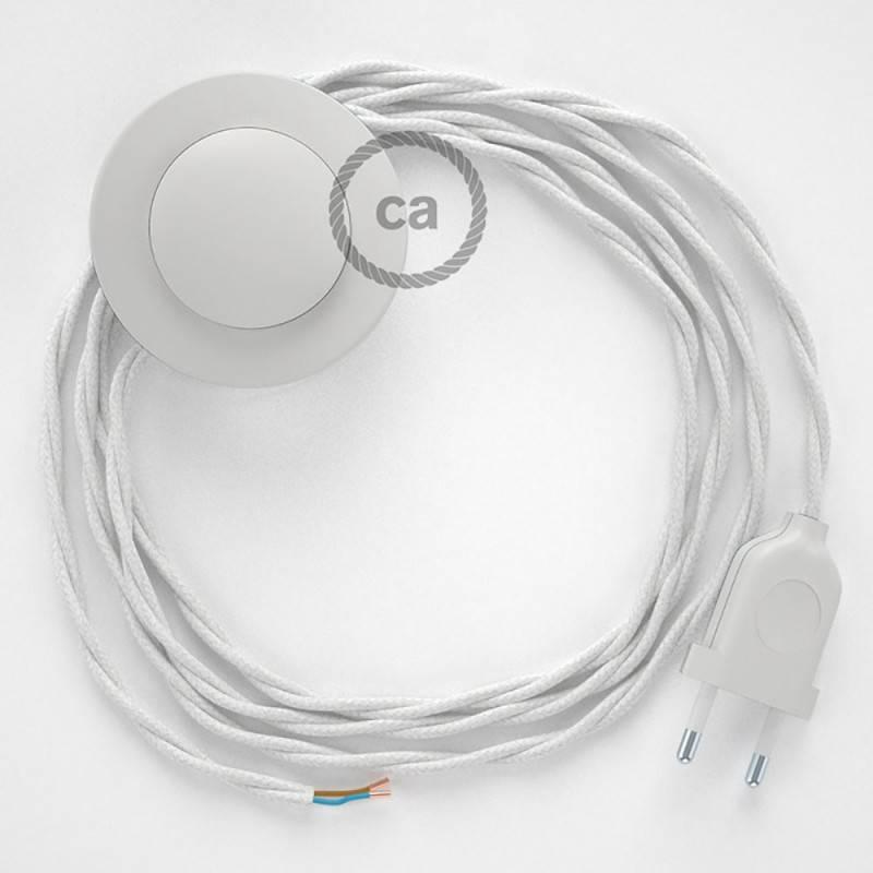 Stehleuchte Anschlussleitung TC01 Weiß Baumwolle 3 m. Wählen Sie aus drei Farben bei Schalter und Stecke.