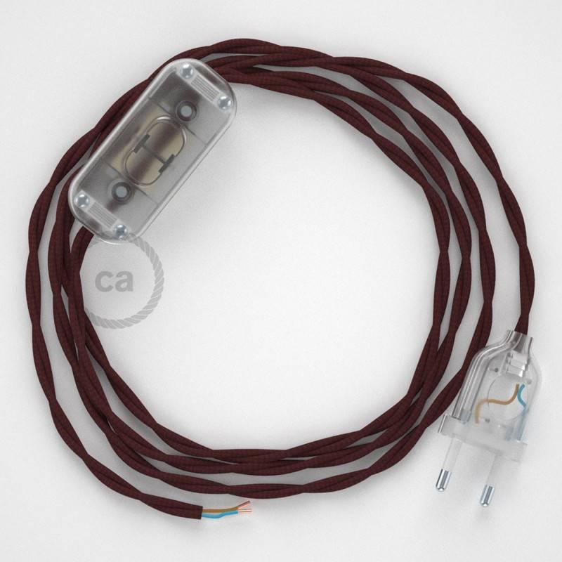 Zuleitung für Tischleuchten TM19 Bordeaux Seideneffekt 1,80 m. Wählen Sie aus drei Farben bei Schalter und Stecke.