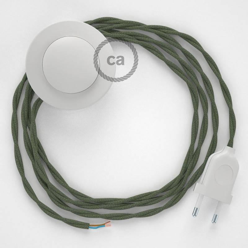 Stehleuchte Anschlussleitung TC63 Graugrün Baumwolle 3 m. Wählen Sie aus drei Farben bei Schalter und Stecke.
