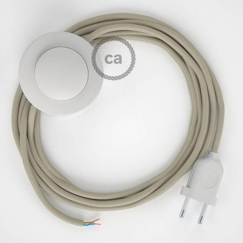 Stehleuchte Anschlussleitung RC43 Taubengrau Baumwolle 3 m. Wählen Sie aus drei Farben bei Schalter und Stecke.